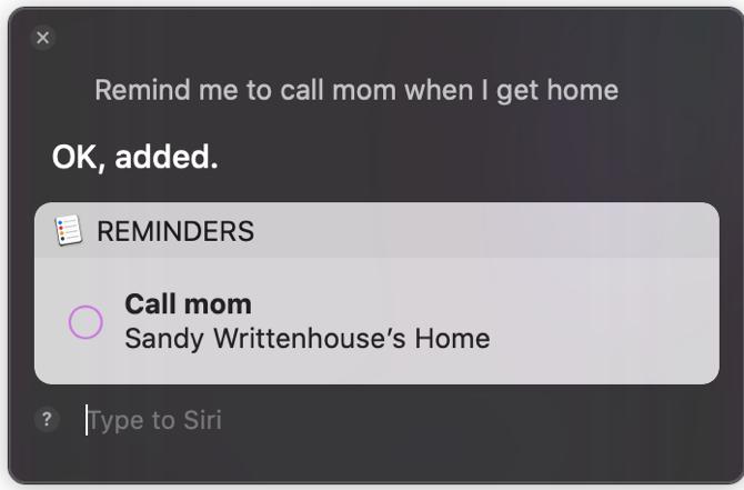 Siriでリマインダーを設定している画面