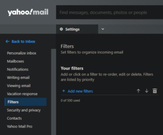 Yahoo!メールの設定画面