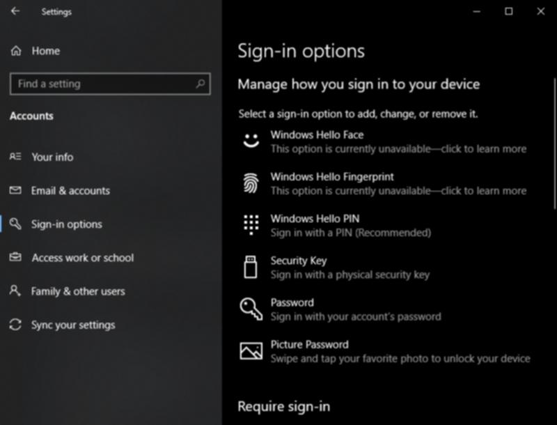 Windows Helloの設定画面