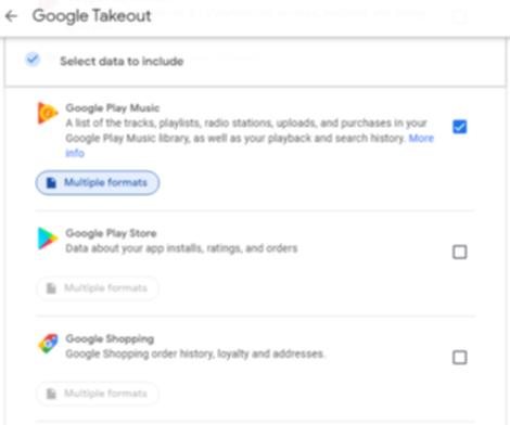 Google Takeoutの画面