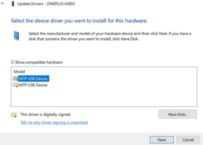MTP USBドライバーの画面