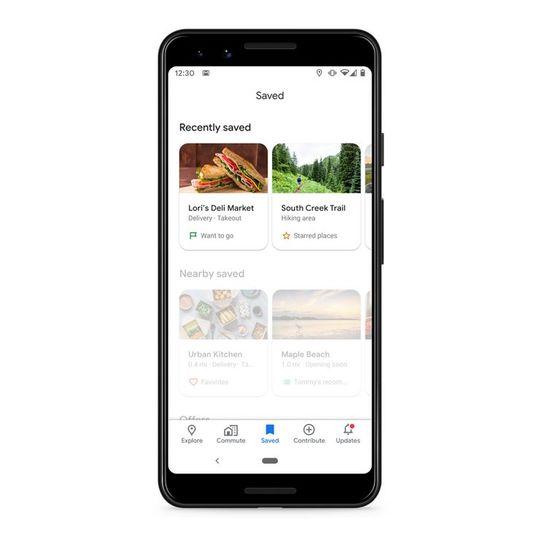 GoogleMapの保存タブの画面