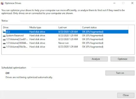 Windows 10の設定で自動デフラグ・ツールをオフにする方法