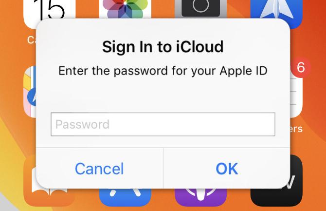 デバイスがiCloudのパスワードを聞き続ける