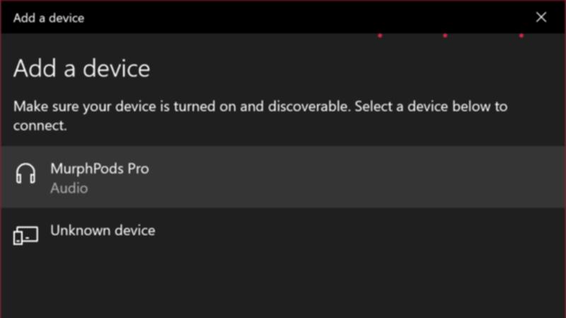 Bluetoothのデバイスの追加画面
