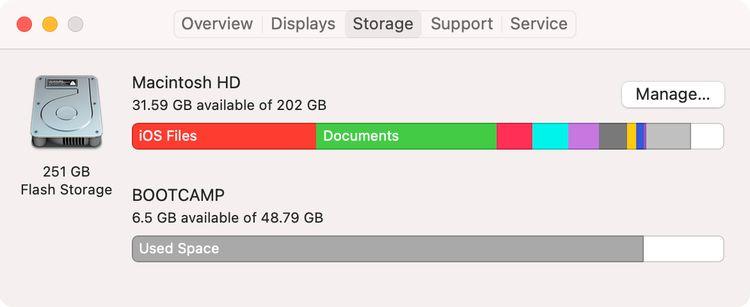 Macのストレージの画面