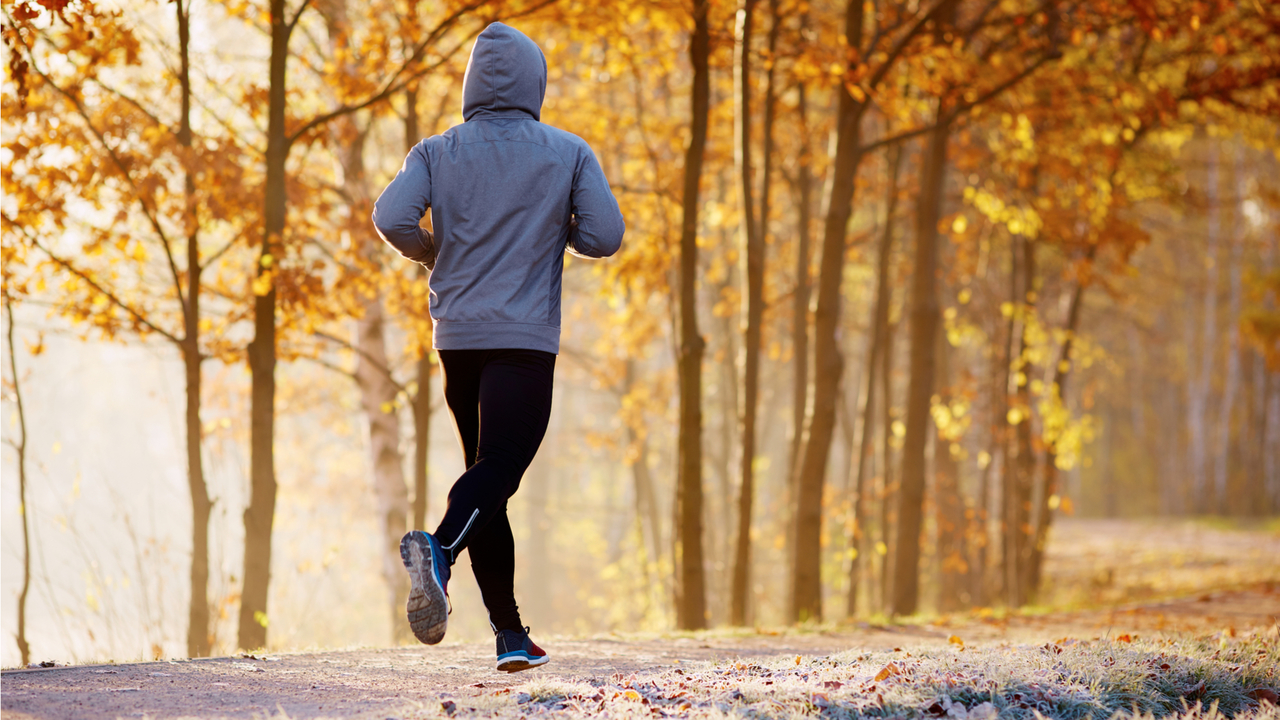 秋の森林でランニングする男性