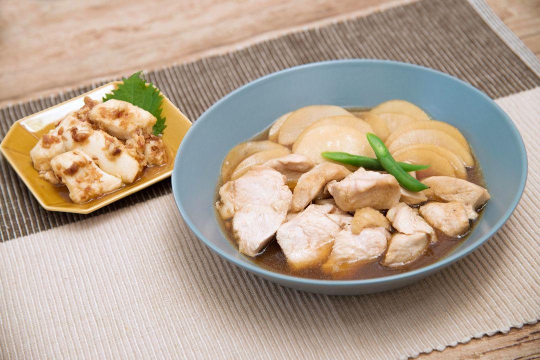 鶏肉の甘辛生姜たれと長芋のおかか和え