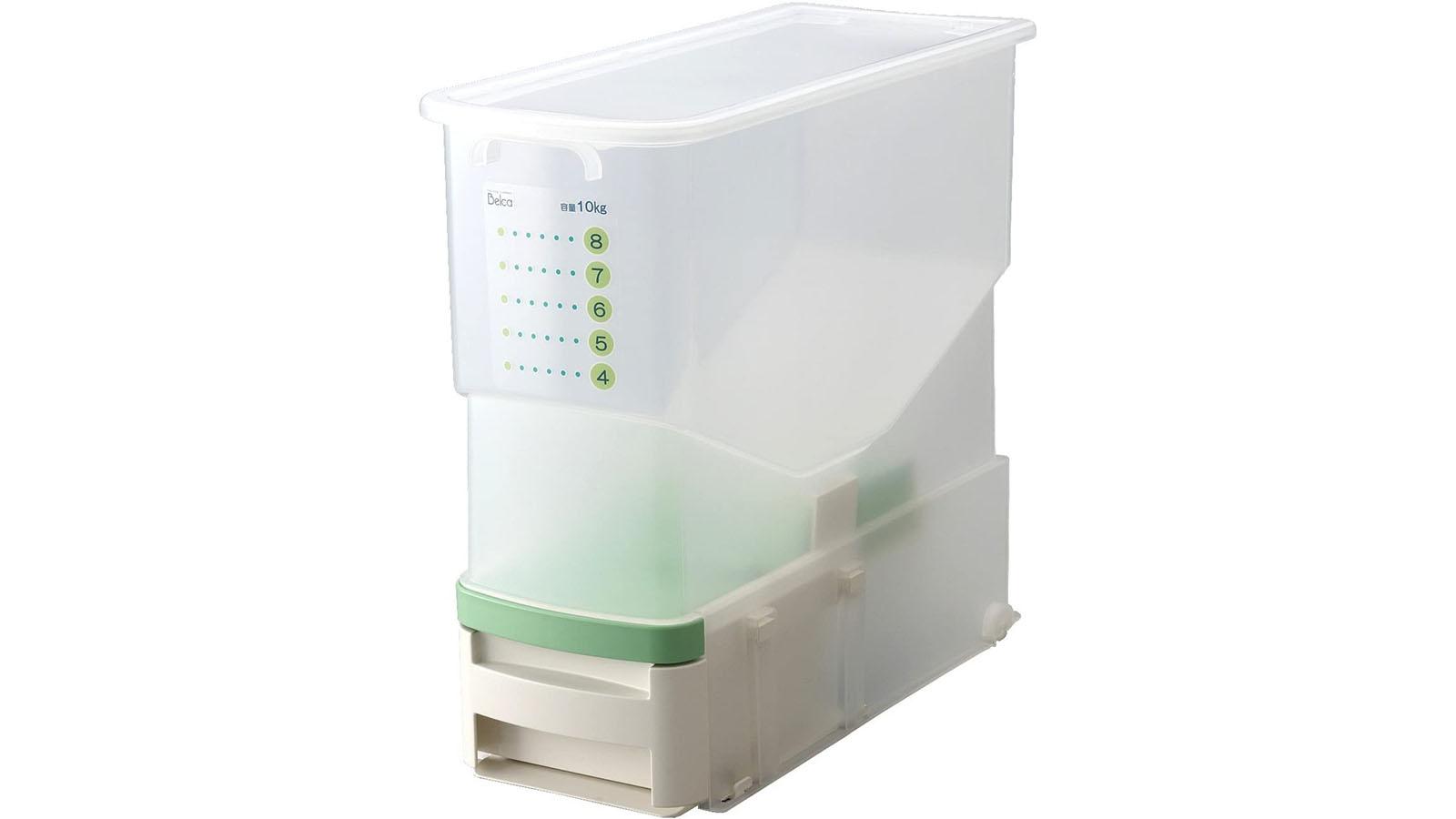 丸洗い可能で計量機能つきのスッキリ収納できる米びつ
