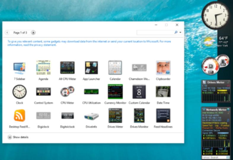 Windows10のデスクトップガジェット