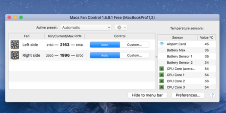 Macs Fan Controlの画面