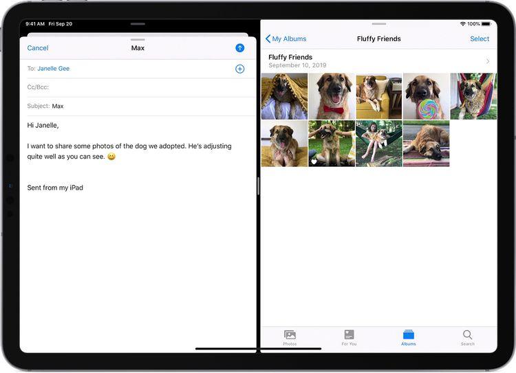 iPadのメールと写真の画面