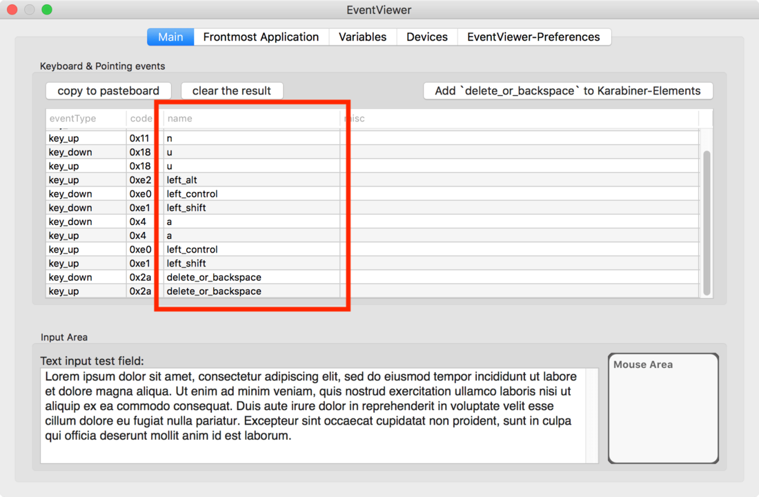 Karabiner-Elementsで設定したキー操作確認画面