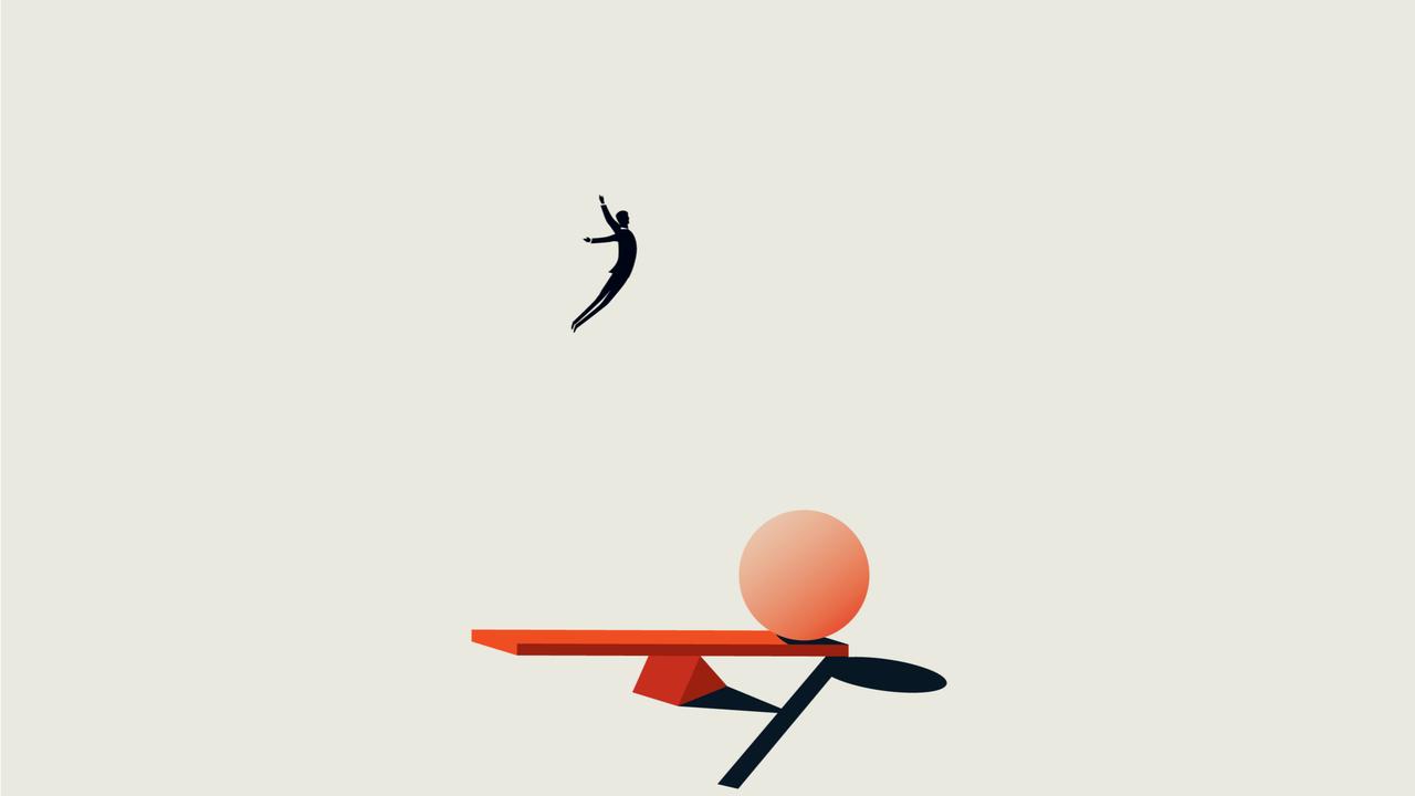 平均台に飛び込む男性のイラスト