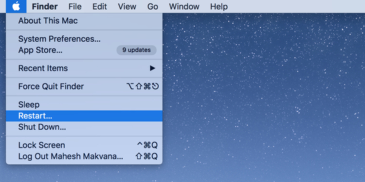 macOSの再起動メニュー