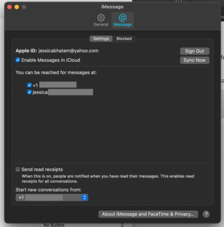 iMessageの設定画面