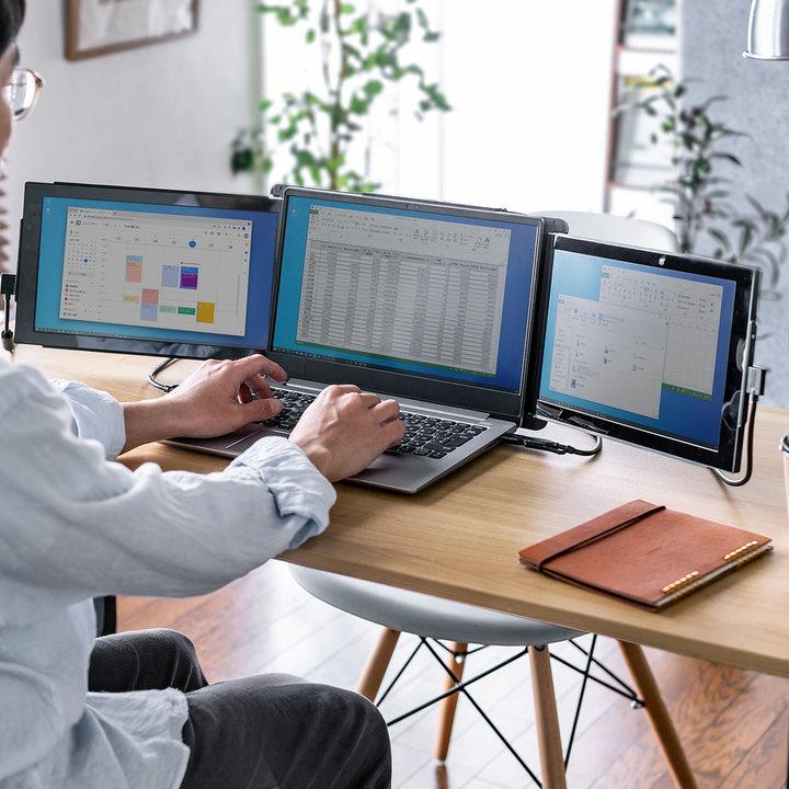 サンワダイレクトの「ノートPC一体型モバイルディスプレイ」