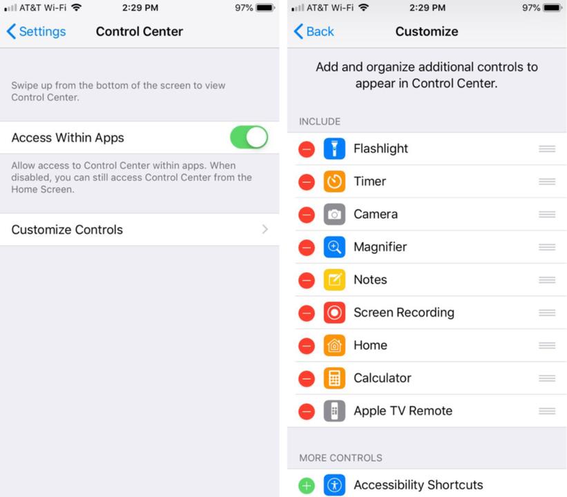 iPhoneのコントロールセンター