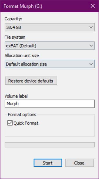 Windowの標準ツールでexFATとして再フォーマットする