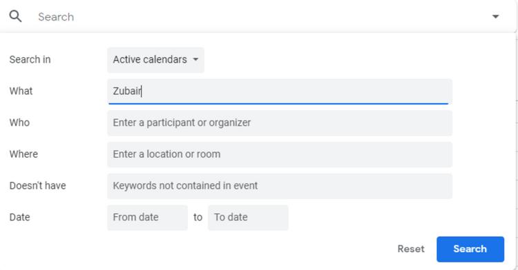 カレンダーの詳細検索