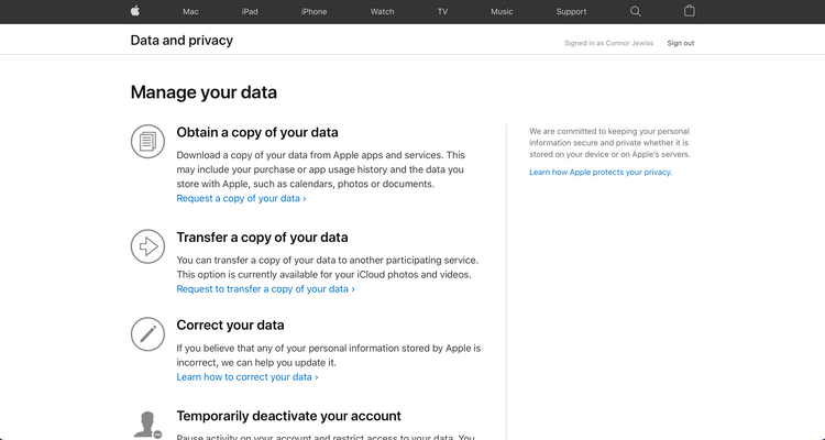 Appleデータプライバシーホーム画面