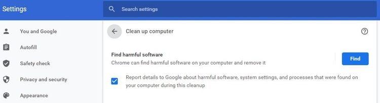 GoogleChromeの「クリーンアップ」機能