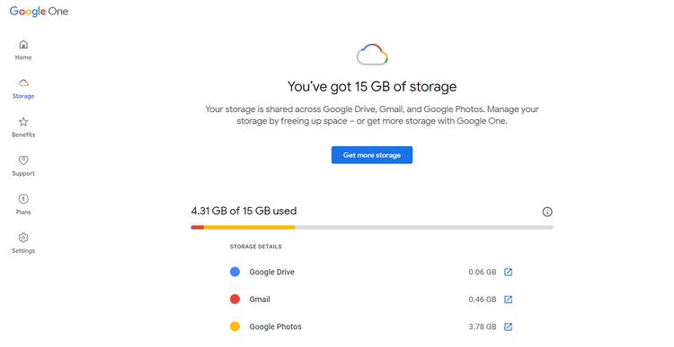 Google ドライブの空き容量確認画面