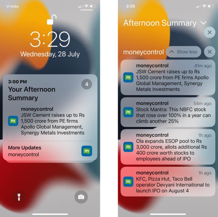 iPhoneの通知要約の画面