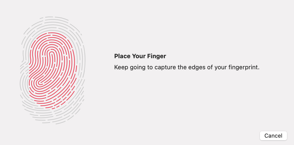 「指紋の境界部のキャプチャーを続けてください」の表示
