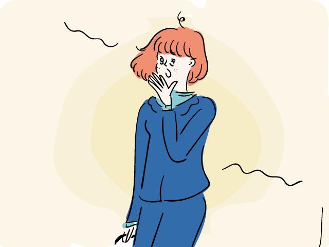 寝不足の女性を表すイラスト