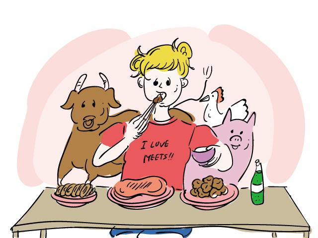肉ばかり食べている女性を表すイラスト