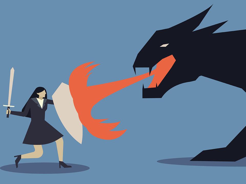 怪獣と戦う女性