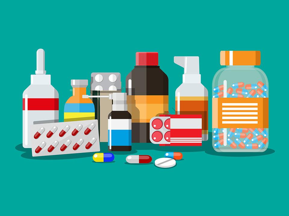 薬の錠剤や瓶
