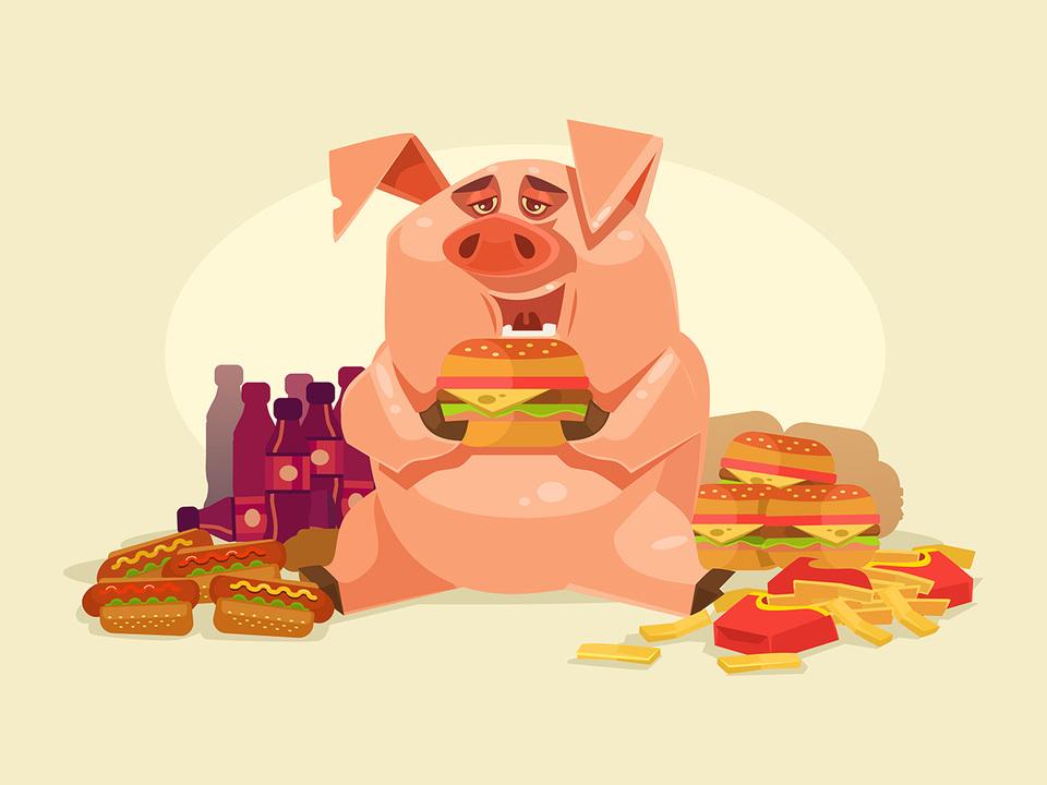 ハンバーガーを食べる豚