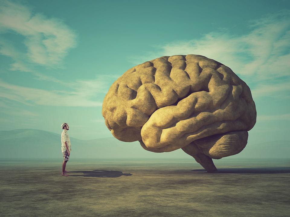 巨大な脳を見つめる男性