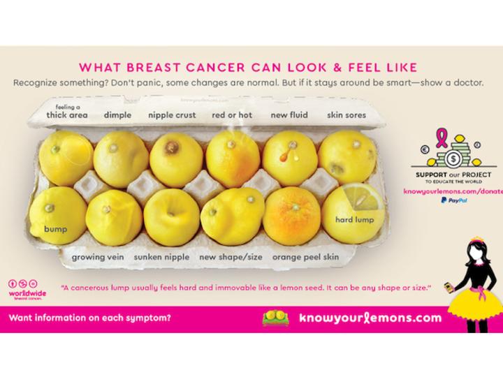 「乳がんの初期サイン」をレモンで表した写真が完璧!