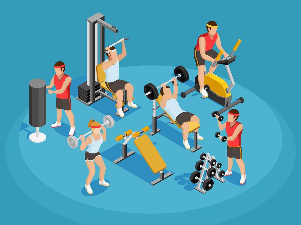 運動する人々