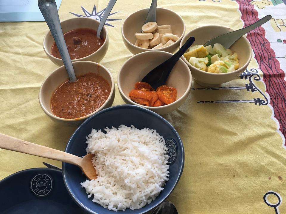 青唐辛子のラムカレー,ココナツミルクのキーマカレー
