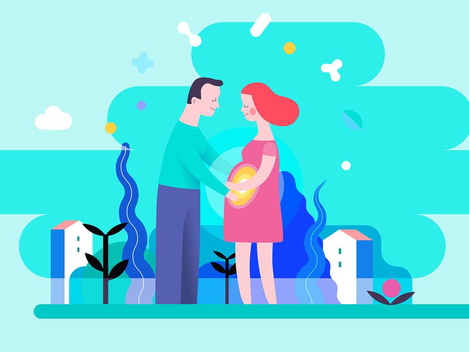 妊娠中の女性とその夫