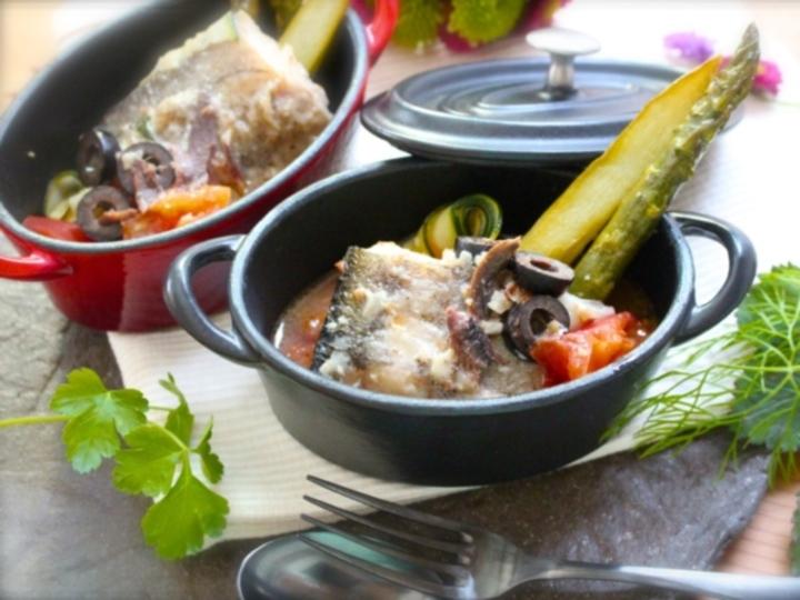 鱈と夏野菜のアクアパッツァ