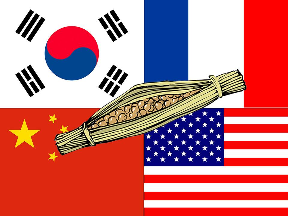 世界の国旗と納豆