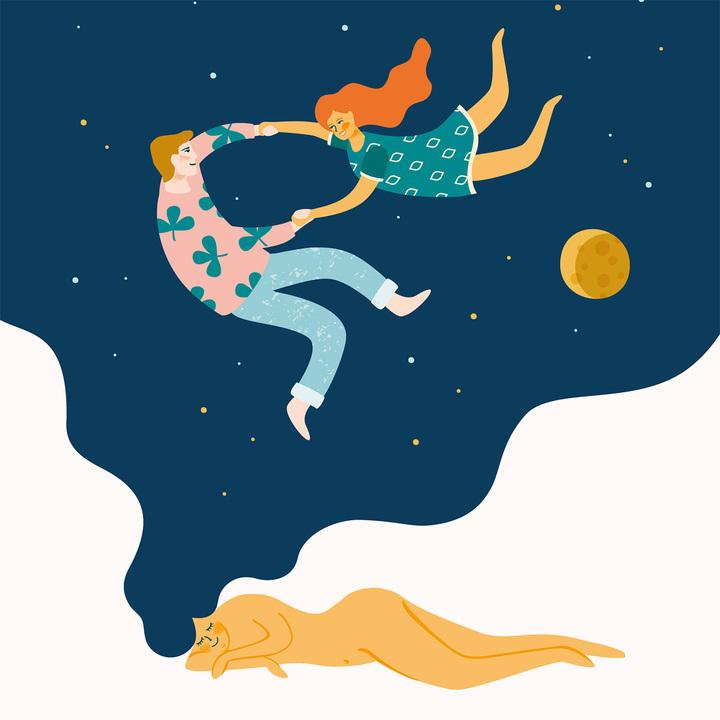 夢の中で夜空を舞うカップル