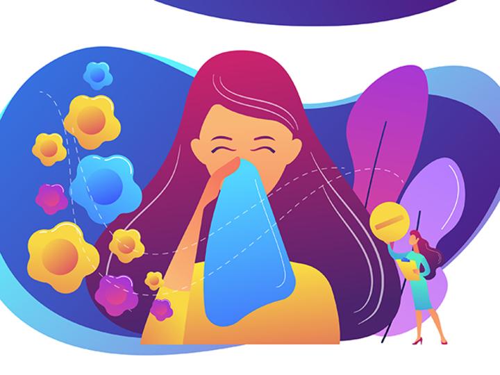 鼻をかむ女性のイラスト