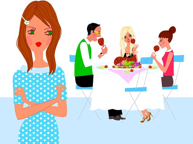 食事の悩みを抱える女性