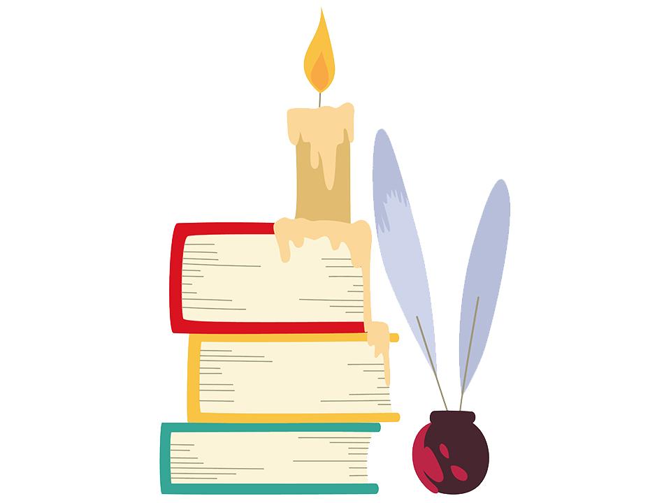 キャンドルと本とペン