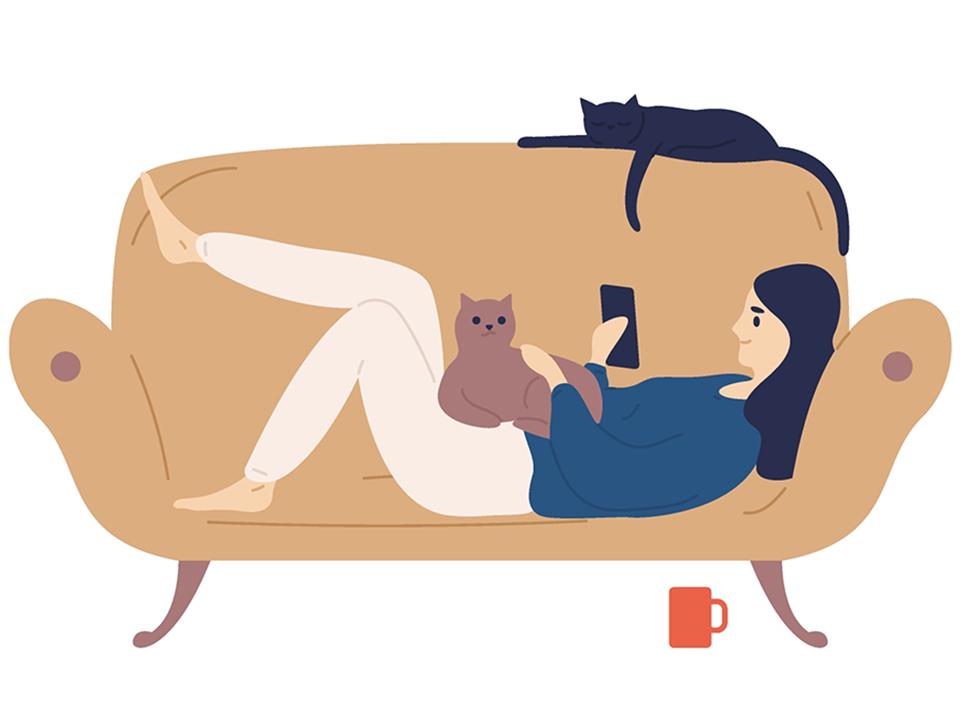ソファで休む人
