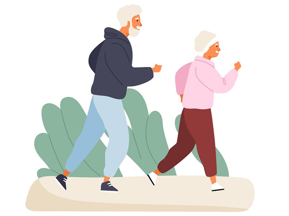 老父婦の散歩