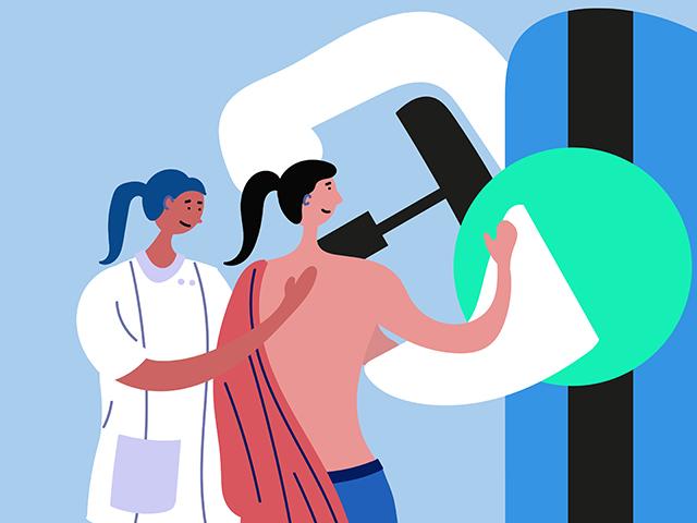 マンモグラフィ検査をしている女性
