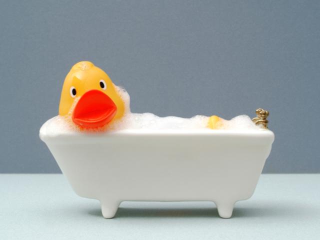お風呂に入ったアヒル
