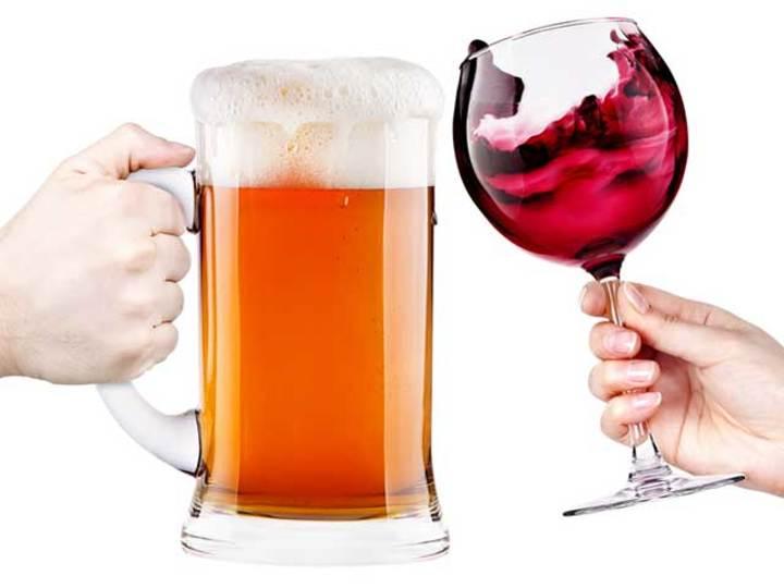ビール&赤ワイン